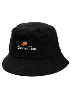 Cute Strawberry Embroidery Fisherman Hat - Black