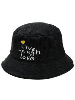 Fun Letters Embroidery Bucket Sun Hat - Black