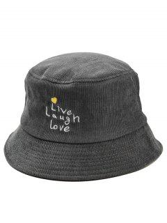 Fun Letters Embroidery Bucket Sun Hat - Gray