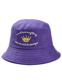 Stylish Crown Embroidery Fisherman Hat - Purple