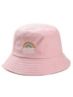 Rainbow Embroidery Corduroy Fisherman Hat - Pink