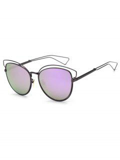 Hollow Out Frame Novelty Catty Sunglasses - Mauve