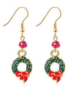 Christmas Wreath Rhinestone Hook Earrings - Gold