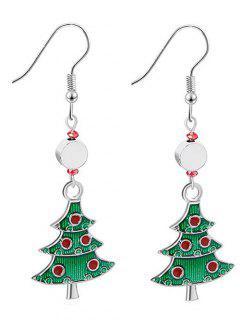 Beaded Christmas Tree Rhinestone Design Hook Earrings - Silver