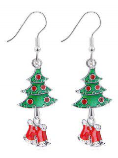 Christmas Bells Rhinestone Design Hook Earrings - Silver