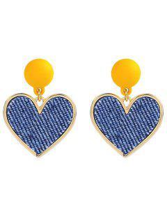 Alloy Heart Shape Drop Earrings - Rubber Ducky Yellow