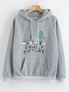 Cacti Letter Graphic Front Pocket Hoodie - Light Gray L
