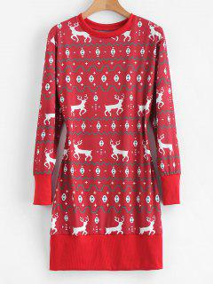 Reindeer Graphic Longline Christmas Sweatshirt - Red Wine S