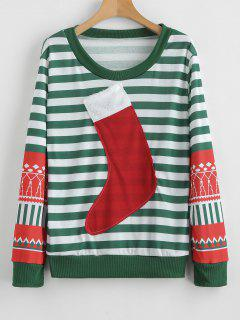 Fur Christmas Stocking Striped Sweatshirt - Sea Green L