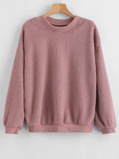 Loose Plain Faux Fur Sweatshirt - Lipstick Pink M