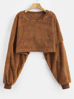 Cropped Fleece Oversized Sweatshirt - Brown L