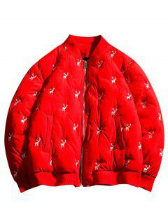 Reindeers Embroidery Quilted Bomber Jacket - Red M