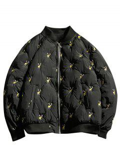 Reindeers Embroidery Quilted Bomber Jacket - Black S