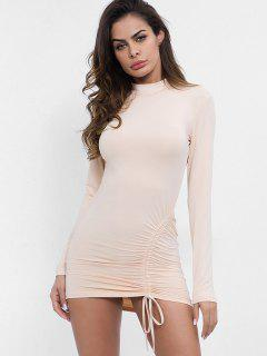 Mock Neck Cinched Bodycon Dress - Apricot L