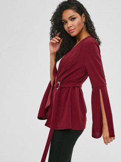 D Ring Belt Bell Sleeve Blazer - Red Wine L