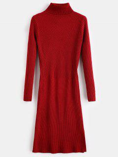 Slit Turtleneck Sweater Dress - Red Wine