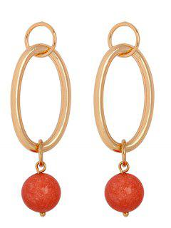 Geometric Ball Decoration Round Earrings - Rosso Red 1pc