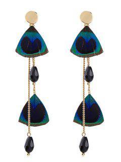 Feather Shape Rhinestone Long Earrings - Blue