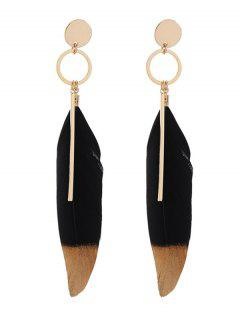 Artificial Feather Shape Hollow Earrings - Black