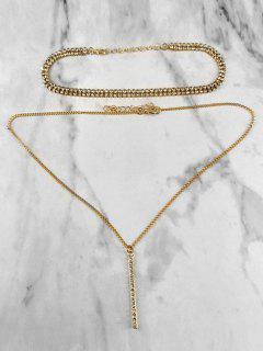 2Pcs Rhinestoned Pendant Chain Necklace - Gold
