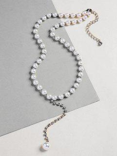 Beaded Artificial Pearl And Crystal Necklace - White