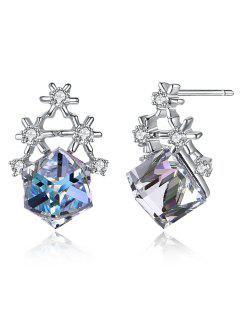 Rhinestone Snowflake Block Stud Earrings - Multi-a