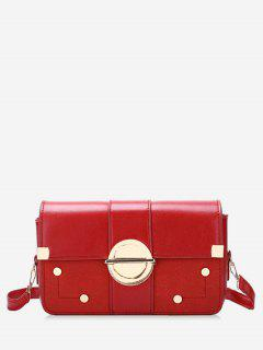 Rivets Circle Metal Lock Design Crossbody Bag - Red
