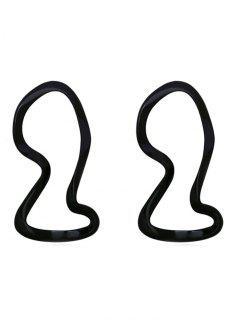 Geometric Design Hollow Stud Earrings - Black