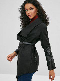 Faux Leather Trim Belted Shawl Coat - Black M