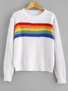 Rainbow Striped Graphic Chunky Sweater - White