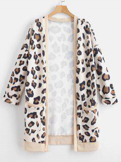 Cuffed Sleeves Leopard Print Coat - Camel Brown Xl
