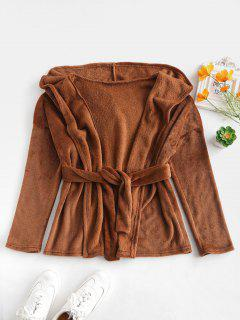 Plain Hooded Belted Fluffy Coat - Coffee S