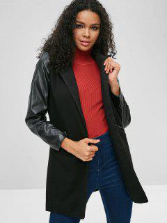 Contrasting Faux Leather Sleeve Faux Wool Coat - Black M