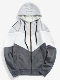 Contrast Full Zipper Fleece Jacket - Ash Gray L