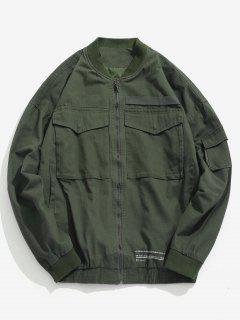 Casual Pockets Bomber Jacket - Army Green 2xl