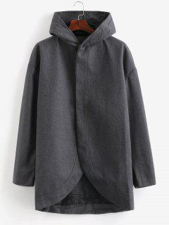 Slim Fit Hooded Woolen Trench Coat - Carbon Gray 2xl