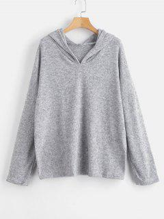 Solid Color Loose Hoodie - Light Gray M