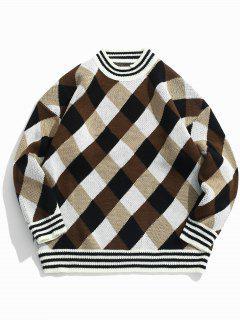Suéter De Punto De Tela Escocesa - Caqui Xl