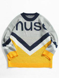 Letter Contrast Color Knit Sweater - Yellow M