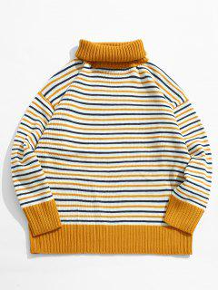 Turtleneck Striped Pullover Knit Sweater - Yellow L