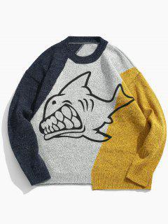 Pull En Tricot Motif Requin De Couleurs Contrastées  - Jaune L