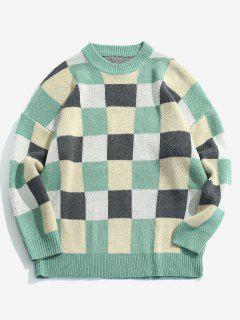Suéter De Punto De Color De Contraste De Punto Jersey - Azul Verde Guacamayo  2xl