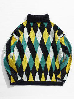 Suéter De Cuello Alto A Cuadros De Punto De Cuello Alto - Amarillo S