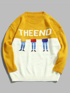 Suéter De Punto Bordado Con Letras En Contraste - Amarillo Xl