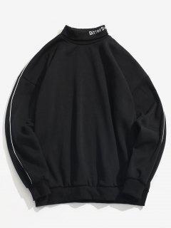 Rollkragenpullover Mit Buchstabenstreifen Und Fleece - Schwarz L