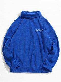 Embroidery Letter Cowl Neck Sweatshirt - Blue M