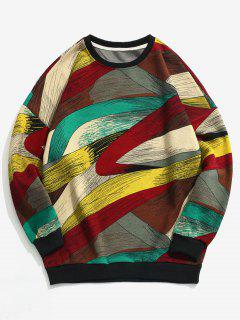 Abstract Contrast Pullover Sweatshirt - Green L