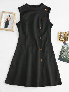 Buttoned Sleeveless Dress - Black M