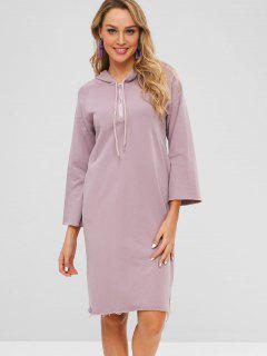 Raw Hem Half-zip Hoodie Dress - Lilac