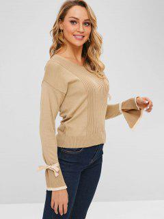 Split Tied Bell Sleeve Sweater - Light Khaki
